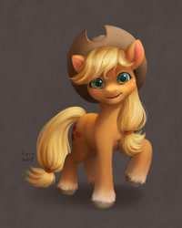 Size: 1025x1280   Tagged: safe, artist:lynxwolf, applejack, earth pony, pony, g5, coat markings, cowboy hat, cute, detailed, female, freckles, g4 to g5, hat, jackabetes, looking at you, mare, raised hoof, simple background, smiling, smiling at you, socks (coat markings), solo, style emulation, unshorn fetlocks