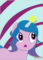 Size: 3328x4692 | Tagged: safe, artist:indonesiarailroadpht, izzy moonbow, pony, unicorn, g5 movie, abstract background, anti-pointiness safety device, female, g5, high res, horn, horn impalement, hornball, lineless, mare, open mouth, solo, tennis ball, text, watermark
