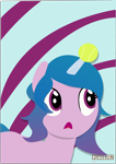 Size: 3328x4692 | Tagged: safe, artist:indonesiarailroadpht, izzy moonbow, pony, unicorn, g5, abstract background, ball, female, high res, horn, horn guard, horn impalement, hornball, izzy's tennis ball, lineless, mare, open mouth, solo, tennis ball, text, watermark