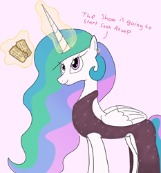 Size: 1865x2000   Tagged: safe, artist:notawriteranon, princess celestia, alicorn, pony, clothes, dress, hearts and hooves day, holiday, implied anon, valentine's day
