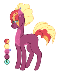 Size: 586x724   Tagged: safe, artist:loutro, oc, oc only, oc:sunset orchard, earth pony, pony, color palette, male, offspring, parent:big macintosh, parent:princess luna, parents:lunamac, simple background, solo, stallion, transparent background