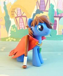 Size: 785x950 | Tagged: safe, artist:krowzivitch, oc, oc:bizarre song, pegasus, pony, baseball bat, cape, clothes, figurine, irl, male, photo, solo, stallion