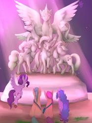 Size: 1497x2000 | Tagged: safe, artist:niorsaj, applejack, fluttershy, hitch trailblazer, izzy moonbow, pinkie pie, pipp, rainbow dash, rarity, sunny starscout, twilight sparkle, earth pony, pegasus, pony, unicorn, bag, female, g5, grass, light, male, mane six, mare, signature, sitting, spread wings, stallion, stone, unshorn fetlocks, wings