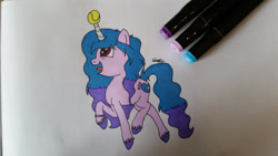 Size: 1280x720 | Tagged: safe, artist:cindydreamlight, izzy moonbow, pony, unicorn, g5 movie, anti-pointiness safety device, female, g5, horn, horn impalement, hornball, mare, marker drawing, solo, tennis ball, tongue out, traditional art, unshorn fetlocks