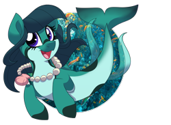 Size: 1500x1100 | Tagged: safe, artist:itstaylor-made, oc, oc only, fish, seapony (g4), clothes, deviantart watermark, dorsal fin, female, fish tail, flowing mane, flowing tail, jewelry, necklace, obtrusive watermark, ocean, open mouth, pearl necklace, purple eyes, seashell, seashell necklace, see-through, simple background, solo, swimming, tail, transparent background, underwater, water, watermark