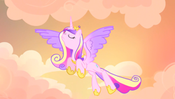 Size: 1920x1080 | Tagged: safe, screencap, princess cadance, alicorn, pony, season 4, three's a crowd, colored wings, eyes closed, female, flying, frown, hoof shoes, jewelry, majestic, mare, multicolored mane, multicolored wings, solo, spread wings, tiara, wings