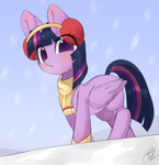 Size: 3086x3183 | Tagged: safe, artist:choyamy, twilight sparkle, alicorn, pony, blushing, clothes, earmuffs, female, high res, looking at you, mare, scarf, signature, snow, solo, twilight sparkle (alicorn)