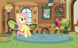 Size: 900x563 | Tagged: safe, artist:doctoroctavia, artist:dragondinolover84, artist:sofunnyguy, part of a set, big macintosh, fluttershy, earth pony, pegasus, pony, chair, couch, female, fluttermac, fluttershy's cottage, male, micro, request, shipping, sitting, straight