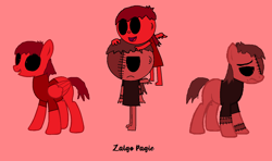 Size: 1640x968 | Tagged: safe, artist:pagiepoppie12345, earth pony, human, pegasus, pony, .exe, climbing on head, clothes, human and pony, pegasus human, pegasus wings, ponified, red eyes, sadness, shirt, smiling, stitches, two sides, unamused, wallpaper, wings, zalgo, zalgo pagie