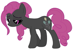 Size: 819x563 | Tagged: safe, artist:pagiepoppie12345, pinkie pie, earth pony, pony, .exe, crying, dead, looking down, sadness, simple background, transparent background, vector, walking, zalgo