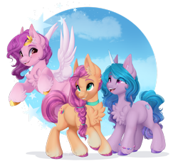 Size: 1920x1777 | Tagged: safe, artist:pvrii, izzy moonbow, pipp petals, sunny starscout, earth pony, pegasus, pony, unicorn, g5, adorapipp, braid, chest fluff, cloud, cute, ear fluff, female, grin, izzybetes, leg fluff, mare, open mouth, raised hoof, simple background, sky, smiling, stars, sunnybetes, teeth, transparent background, unshorn fetlocks
