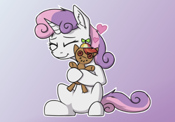 Size: 1800x1250 | Tagged: safe, artist:danger_above, button mash, sweetie belle, unicorn, button eyes, buttonbetes, cute, diasweetes, eyes closed, female, heart, hug, male, plushie, shipping, simple background, sitting, straight, sweetiemash