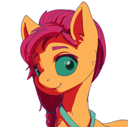 Size: 1512x1500 | Tagged: safe, artist:kovoranu, sunny starscout, earth pony, pony, braid, female, g5, looking at you, simple background, smiling, solo, white background
