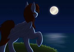 Size: 1063x752 | Tagged: artist needed, safe, oc, oc only, oc:pegasusgamer, pegasus, full body, full moon, moon, night, ocean, one hoof raised, wings