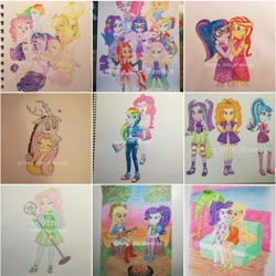 Size: 1080x1080 | Tagged: safe, artist:mmy_little_drawings, adagio dazzle, applejack, aria blaze, discord, fluttershy, pinkie pie, princess luna, rainbow dash, rarity, sci-twi, sonata dusk, sunset shimmer, twilight sparkle, alicorn, draconequus, earth pony, pegasus, pony, seapony (g4), unicorn, equestria girls, equestria girls series, forgotten friendship, rainbow rocks, so much more to me, spring breakdown, sunset's backstage pass!, spoiler:eqg series (season 2), bare shoulders, bedroom eyes, blushing, boots, bust, campfire, cloak, clothes, converse, cutie mark, cutie mark on clothes, dancing, discoshy, dress, evil grin, eyelashes, eyes closed, female, fingerless gloves, freckles, frown, geode of sugar bombs, geode of super speed, glasses, gloves, grin, guitar, hand on hip, hat, heart, high heel boots, high heels, holding hands, horn, hug, humane five, humane seven, humane six, jacket, lesbian, looking at you, magical geodes, male, mane six, mare, microphone, musical instrument, obtrusive watermark, open mouth, outdoors, palm tree, pants, piggyback ride, pinkie pie riding rainbow dash, pinkiedash, ponied up, ponytail, rarijack, riding, sandals, scitwishimmer, seaponified, shipping, shoes, shorts, side hug, sitting, skirt, sleeveless, smiling, smiling at you, species swap, spread wings, straight, sunset, sunsetsparkle, the dazzlings, top hat, traditional art, tree, tree stump, watermark, wings
