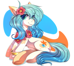 Size: 5624x5045 | Tagged: safe, artist:ask-colorsound, oc, oc only, oc:seascape, earth pony, pony, bracelet, cute, female, flower, flower in hair, jewelry, lei, looking at you, simple background, sitting, smiling, smiling at you, solo, underhoof
