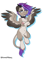 Size: 1216x1652 | Tagged: safe, artist:mulberrytarthorse, oc, oc:ouija, succubus, succubus pony, belly, collar, flying, folded forelegs, freckles, grumpy, horns, piercing