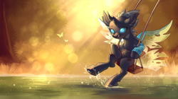 Size: 3990x2240 | Tagged: safe, artist:ls_skylight, oc, oc:tarsi, changeling, pony, changeling oc, clothes, cute, cuteling, swing, swinging, water, wet hooves
