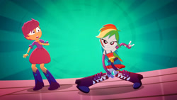 Size: 3410x1920   Tagged: safe, screencap, rainbow dash, scootaloo, eqg summertime shorts, equestria girls, raise this roof, belt, boots, breakdancing, clothes, cutie mark, cutie mark on clothes, dancing, devil horn (gesture), duo, duo female, fall formal outfits, female, fingerless gloves, gloves, open mouth, shoes, sleeveless, wide eyes