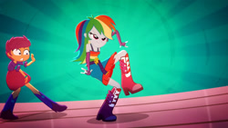 Size: 3410x1920   Tagged: safe, screencap, rainbow dash, scootaloo, eqg summertime shorts, equestria girls, raise this roof, belt, boots, breakdancing, clothes, cutie mark, cutie mark on clothes, dancing, devil horn (gesture), duo, duo female, faic, fall formal outfits, female, fingerless gloves, gloves, shoes, sleeveless, smiling, smirk, smug, smugdash