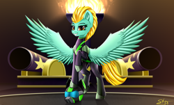 Size: 3850x2320 | Tagged: safe, artist:singovih, lightning dust, pegasus, pony, the washouts (episode), alternate clothes, cannon, clothes, female, fire, gun, helmet, looking at you, mare, raised leg, solo, spread wings, the washouts, uniform, washouts uniform, weapon, wings