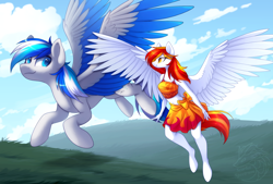 Size: 1254x849 | Tagged: safe, artist:scarlet-spectrum, oc, oc:diamond sun, oc:hawker hurricane, pegasus, pony, anthro, unguligrade anthro, series:pet hawk, anthro with ponies, belly button, bikini, clothes, commission, female, flying, hawkmond, male, mare, midriff, sarong, stallion, swimsuit