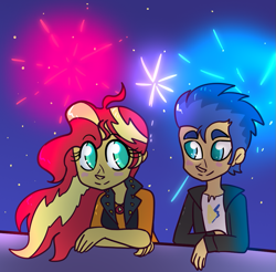 Size: 963x946 | Tagged: safe, artist:northernlightsone, flash sentry, sunset shimmer, equestria girls, blushing, clothes, female, fireworks, flashimmer, jacket, leather jacket, looking at each other, male, night, shipping, shirt, sky, straight, t-shirt
