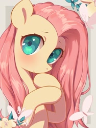 Size: 1536x2048 | Tagged: safe, artist:cherrnichka, fluttershy, butterfly, pegasus, pony, bust, cute, female, flower, looking at you, mare, shyabetes, solo