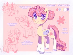 Size: 2048x1536   Tagged: safe, artist:cherrnichka2, oc, oc only, pegasus, cute, cyrillic, hair bun, reference sheet, russian, solo