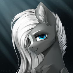 Size: 2000x2000   Tagged: safe, artist:inowiseei, oc, oc:sacred blade, pegasus, pony, blaze (coat marking), blue eyes, bust, chest fluff, coat markings, commission, dark background, ear fluff, facial markings, gradient background, hair over one eye, looking at you, male, portrait, sitting, smiling, solo