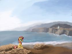 Size: 4000x3000 | Tagged: safe, artist:flusanix, sunset shimmer, pony, unicorn, beach, female, lighthouse, mare, ocean, shore, solo