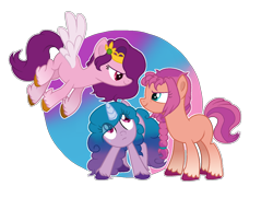Size: 1436x1040 | Tagged: safe, artist:fiona984, artist:leka97, izzy moonbow, pipp petals, sunny starscout, earth pony, pegasus, pony, unicorn, g5, abstract background, base used, braid, female, g5 to g4, gradient background, looking at each other, mare, simple background, spread wings, transparent background, trio, unshorn fetlocks, wings