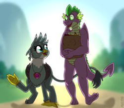 Size: 2000x1737   Tagged: safe, artist:mikeyboo, derpibooru exclusive, gabby, spike, dragon, griffon, cutie mark, dramatic lighting, female, holding tails, male, older, older gabby, older spike, shipping, spabby, straight, the cmc's cutie marks