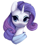 Size: 1220x1394 | Tagged: safe, artist:dammmnation, rarity, pony, unicorn, bust, clothes, cute, female, mare, portrait, raribetes, simple background, solo, transparent background
