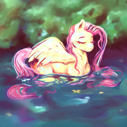 Size: 3000x3000 | Tagged: safe, artist:currentlytr_ash, fluttershy, pegasus, pony, behaving like a bird, cute, daaaaaaaaaaaw, eyes closed, female, mare, shyabetes, smiling, solo, traditional art, water, watercolor painting, wet, wet mane