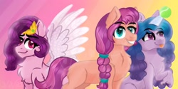 Size: 3000x1500 | Tagged: safe, artist:artisticcupcakezz, izzy moonbow, pipp petals, sunny starscout, earth pony, pegasus, pony, unicorn, g5, :p, chest fluff, female, grin, group shot, horn, horn guard, horn impalement, hornball, izzy's tennis ball, mare, raised hoof, smiling, teeth, tennis ball, tongue out, trio, wings