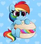 Size: 3858x4096 | Tagged: safe, artist:kittyrosie, rainbow dash, pegasus, pony, blushing, cute, dashabetes, female, food, heart, macaron, solo