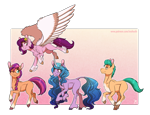 Size: 2096x1600 | Tagged: safe, artist:inuhoshi-to-darkpen, hitch trailblazer, izzy moonbow, pipp, sunny starscout, earth pony, pegasus, pony, unicorn, abstract background, braid, chest fluff, ear fluff, female, g5, hoof fluff, male, mare, one eye closed, simple background, smiling, spread wings, stallion, tongue out, transparent background, unshorn fetlocks, wing fluff, wings