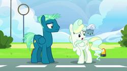 Size: 1920x1080 | Tagged: safe, screencap, sky stinger, vapor trail, pegasus, pony, top bolt, female, male, mare, stallion