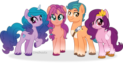Size: 6840x3500 | Tagged: safe, artist:limedazzle, hitch trailblazer, izzy moonbow, pipp petals, sunny starscout, earth pony, pegasus, pony, unicorn, g5, adorapipp, braid, cute, female, g5 to g4, group photo, high res, izzybetes, looking at you, male, mare, raised hoof, simple background, smiling, stallion, sunnybetes, text, transparent background, unshorn fetlocks, vector
