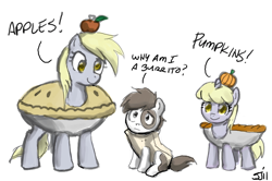 Size: 900x598 | Tagged: safe, artist:johnjoseco, edit, derpy hooves, dinky hooves, pipsqueak, earth pony, pegasus, pony, unicorn, adobe imageready, apple, burrito, clothes, colt, costume, female, filly, food, male, mare, mother and child, mother and daughter, pie, pumpkin, simple background, trio, white background