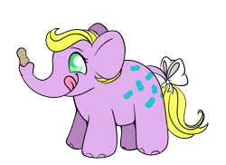 Size: 725x527 | Tagged: safe, anonymous artist, edgar, elephant, bow, drawthread, g1, peanuts, pony friends, simple background, tail bow, transparent background