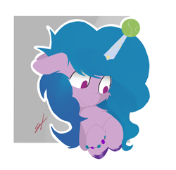Size: 2584x2504 | Tagged: safe, artist:groomlake, izzy moonbow, pony, unicorn, g5, abstract background, bracelet, cheek fluff, chest fluff, colored, female, floppy ears, high res, horn, horn guard, horn impalement, hornball, izzy's tennis ball, jewelry, mare, signature, simple, simple background, smiling, solo, tennis ball, unshorn fetlocks