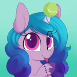 Size: 2000x2000 | Tagged: safe, artist:illusion, izzy moonbow, pony, unicorn, bracelet, cute, female, g5, gradient background, high res, horn, horn guard, horn impalement, hornball, izzybetes, jewelry, looking at you, mare, solo, tennis ball, tongue out, unshorn fetlocks