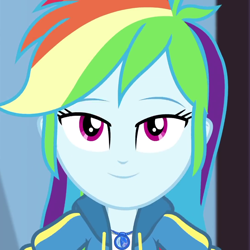 Size: 1080x1080 | Tagged: safe, screencap, rainbow dash, equestria girls, equestria girls series, the finals countdown, cropped, female, geode of super speed, looking at you, magical geodes, smiling, solo