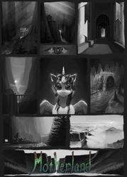 Size: 2000x2800 | Tagged: safe, artist:eqlipse, alicorn, pony, black and white, concept, grayscale, high res, monochrome, painterly, scenery, solo, story