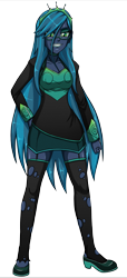 Size: 1648x3600 | Tagged: safe, artist:artemis-polara, queen chrysalis, equestria girls, clothes, equestria girls-ified, glasses, jewelry, shirt, shoes, simple background, skirt, smiling, solo, stockings, thigh highs, tiara, transparent background