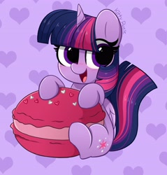 Size: 3920x4096 | Tagged: safe, artist:kittyrosie, twilight sparkle, alicorn, pony, blushing, cute, food, happy, heart, looking at you, macaron, open mouth, smiling, twiabetes, twilight sparkle (alicorn)
