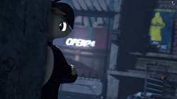 Size: 1920x1080 | Tagged: safe, artist:spinostud, oc, oc:coffe, anthro, 3d, alleyway, clothes, source filmmaker