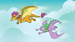 Size: 1024x576 | Tagged: safe, artist:dodgyrom, smolder, spike, dragon, cloud, dragoness, duo, female, flying, male, smiling, winged spike